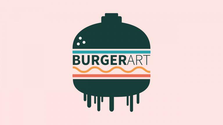 Burgerart logotip za burgerje barven