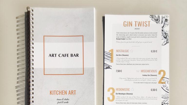 grafično oblikovanje menija za bar